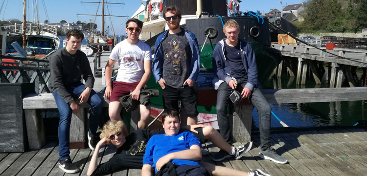 Students relaxing on Erasmus Plus project in front of St Denys Tug